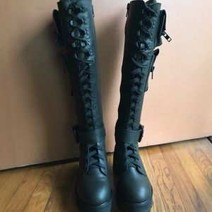 2090ad51d Dolls Kill Shoes - Current Mood Obsidian Pocket Combat Boots